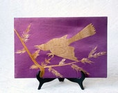 Asian Bird, bamboo wood veneer bird on purple silk background - ProfessorTiny