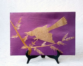Asian Bird, bamboo wood veneer bird on purple silk background