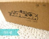 25% off // stamp for handmade crafters packaging// HANDMADE with love message tag