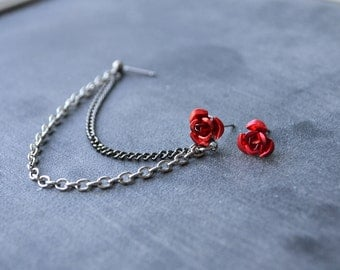 Red Rose Double Chain Cartilage Earring (Pair)