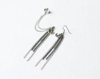 Anchor Chain Ear Cuff Earrings (Pair)