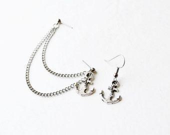 Silver Anchor Cartilage Earring