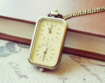 Beyond Time - Bronze Double Face Watch Necklace