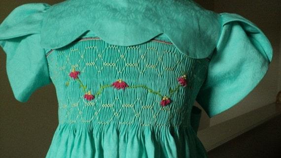 Green Smocked Dress  size 5.READY TO SHIP