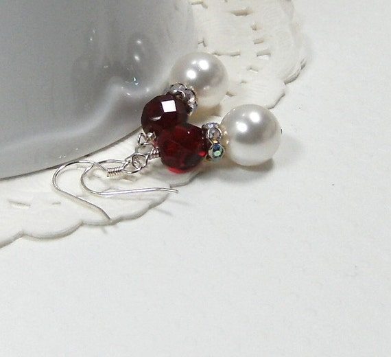 White Pearl and dark red  Bridesmaid earrings, Wedding Jewelry, Bridal Accessories
