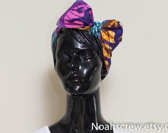 Bow hair tie: Ankara African Wax print, headband wrap, blue, yellow and white Retro headband, Rockabilly, Vintage Inspired Head Scarf