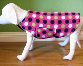 Fleece Dog Coat, Small, Pink, Black, White, and Lime Polka Dots with Black Fleece Lining