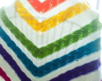 Tunisian Crochet Rainbow Shawl - Multicolor Ruffle Shawlette - Ready Made