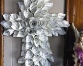 Vintage  Hymnal Rolled Fairy Paper Cone Cross *Custom Order*