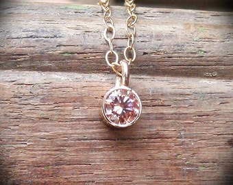 Champagne CZ solitaire bezel set necklace with 14k gold filled chain