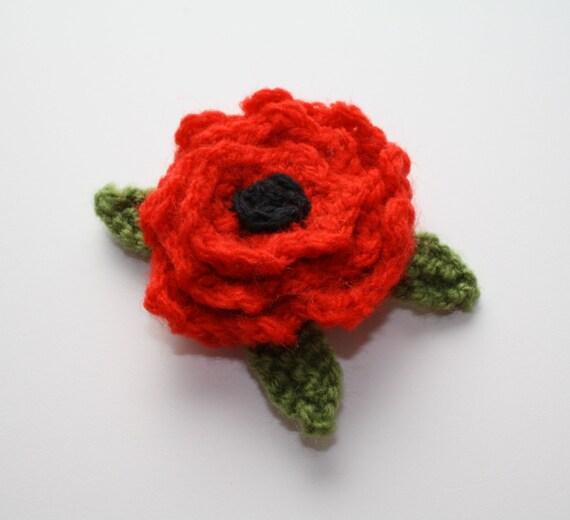 Beautiful Wool Knit Red Poppy Brooch