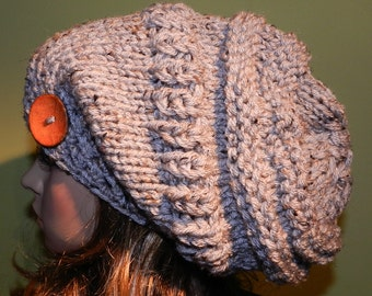 Hand Knitted Chunky Slouchy Hat, Big Baggy Beanie, Boho, Women/Teen, Large Slouchy Hat, Hippster Cap in Grey Marble with ECO Button