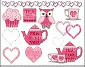 Tea for Two Clipart and Graphic Set, Valentine's Day Clipart, Wedding Clipart, Love Clipart - Digital Scrapbooking Kit