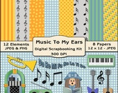 Music To My Ears Digital Scrapbooking Kit - Music Clipart, Choir Clipart, Music Digital Papers, Digital Backgrounds