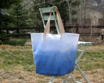 Ombre Canvas Tote  Bag with Leather Handles- Ocean Blue - Ready to Ship