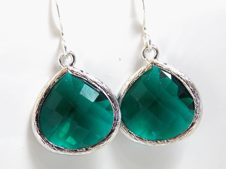 emerald earrings glass earrings green earrings silver