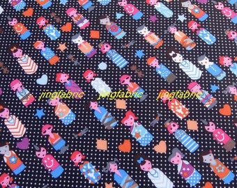 "W228B  - Vinyl Waterproof Fabric - Lovely girl / heart and dots - Black - 27"" x 19"" (70cm x 50cm)"