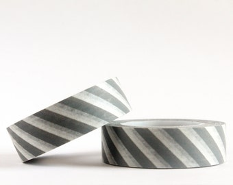 Grey Diagonal Stripes Washi Tape