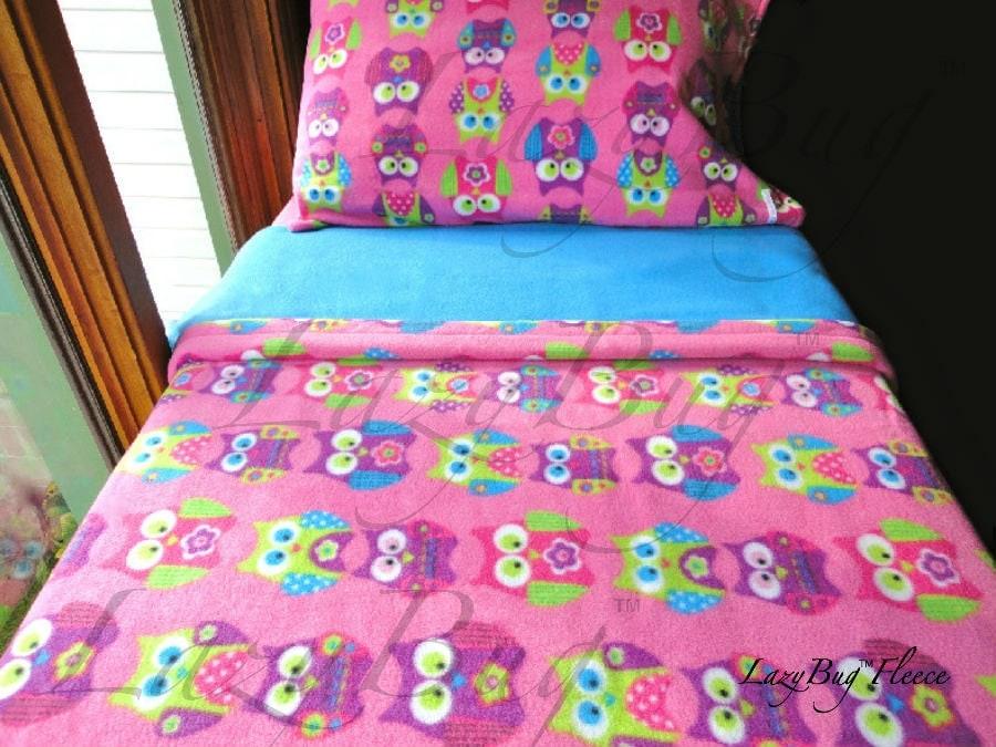 childrens bedding set 39 pink owls 39 for girls handmade. Black Bedroom Furniture Sets. Home Design Ideas