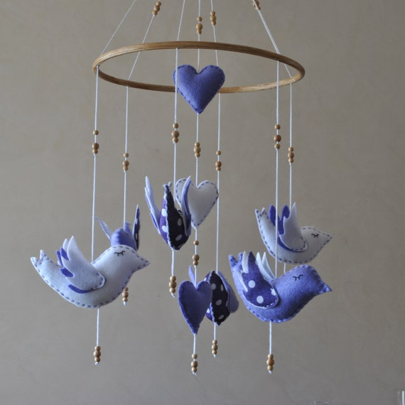 Bird baby mobile - pick your colours - made to order - nursery mobile - crib mobile - felt birds and hearts - baby gift - purple white dots
