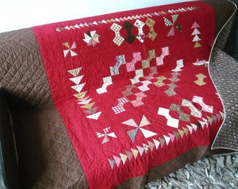 Quilt, patchwork Bordeaux red