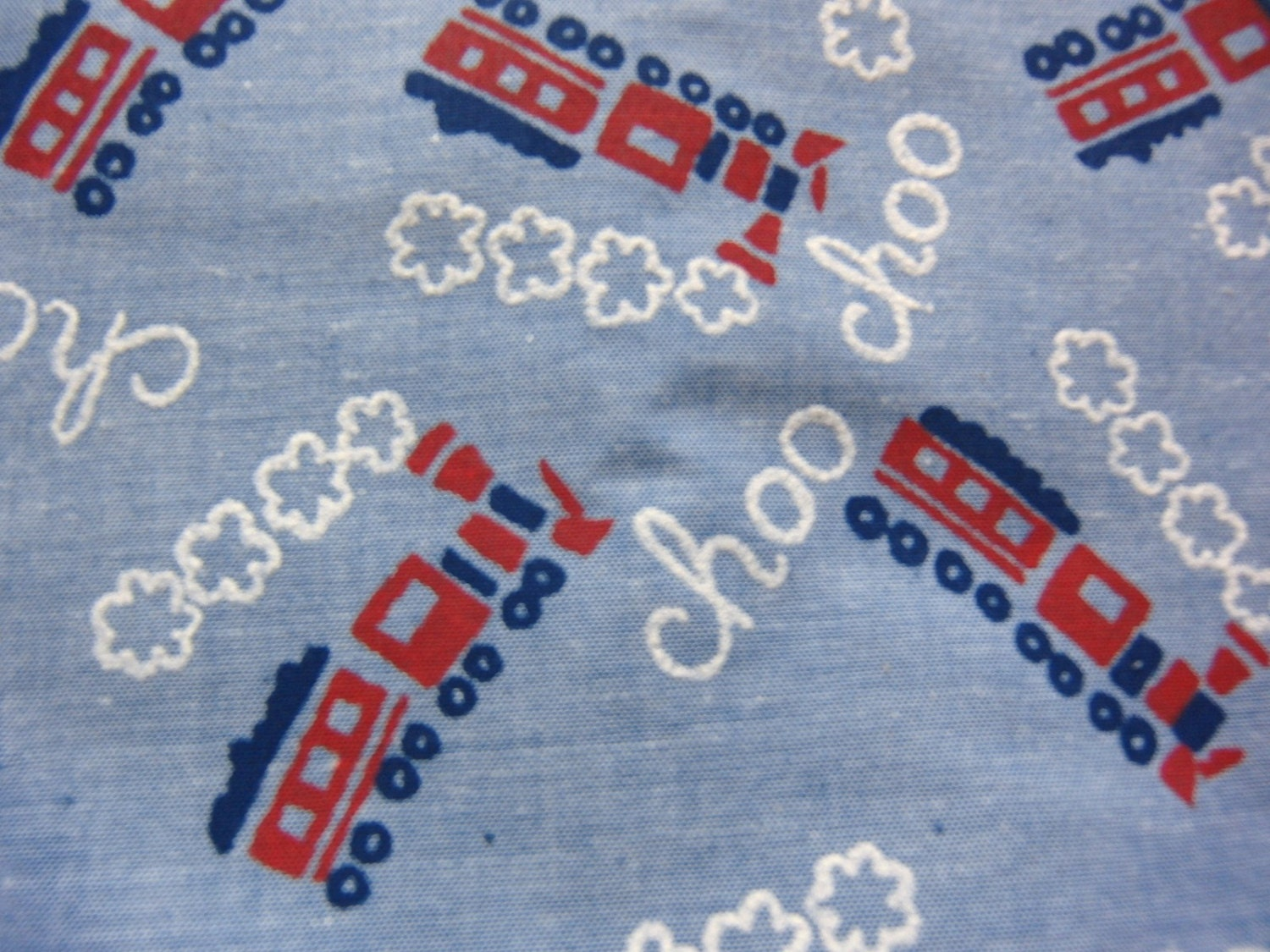 Vintage train locomotive yardage print fabric by gardenlaundry for Train print fabric