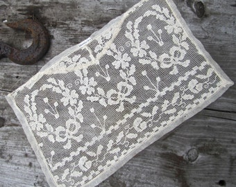 SALE  - Beautiful Old Scrap of Antique Lace with C.E. Hudson Tag - Flowers, Bows, Wreaths, Ivy Design - Use for Art, Dress Making