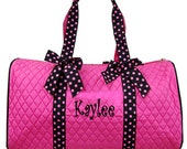 Personalized Girls Duffel Bag-Pink & Black Great  Dance, Gym, or Overnight Bag