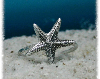 sterling silver starfish ring, starfish ring, silver starfish ring, nautical ring, handmade, eco friendly, statement, novelty