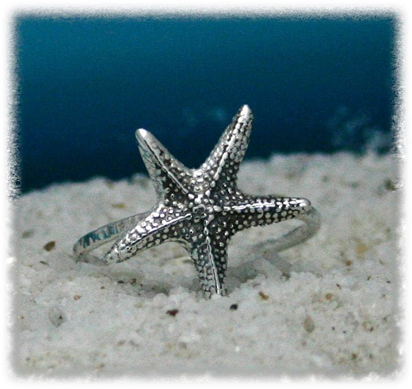 sterling silver starfish ring starfish ring by