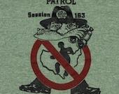 Vintage 1980s United States US Border Patrol Heathered Tri Blend Rayon Ringer T-Shirt