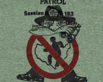 Vintage 1980s United States US Border Patrol Heathered Tri Blend Rayon Ringer T-Shirt