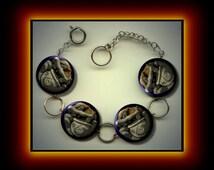 CERIDWEN ancient celtic Goddess Wicca Pagan symbol Power and Wisdom Charm Bracelet with Rhinestones Altered Art Jewelry