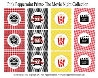 NEW INSTANT DOWNLOAD The Movie Night Birthday Party Oscar Party Collection Party Printable Cupcake Toppers Party Circle Tags