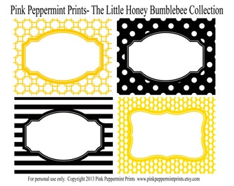NEW INSTANT DOWNLOAD Printable Party Food Labels- The Little Honey Happy Birthday/Baby Shower Collection