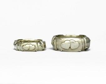 BOND TOGETHER steampunk unusual Wedding Band unplated white gold hearts men unisex ladies ring