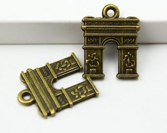 50Pcs Antique Brass triumphal arch Charm triumphal arch Pendant 14x18mm (PND325)