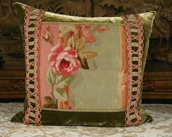 Antique French Aubusson Pillow