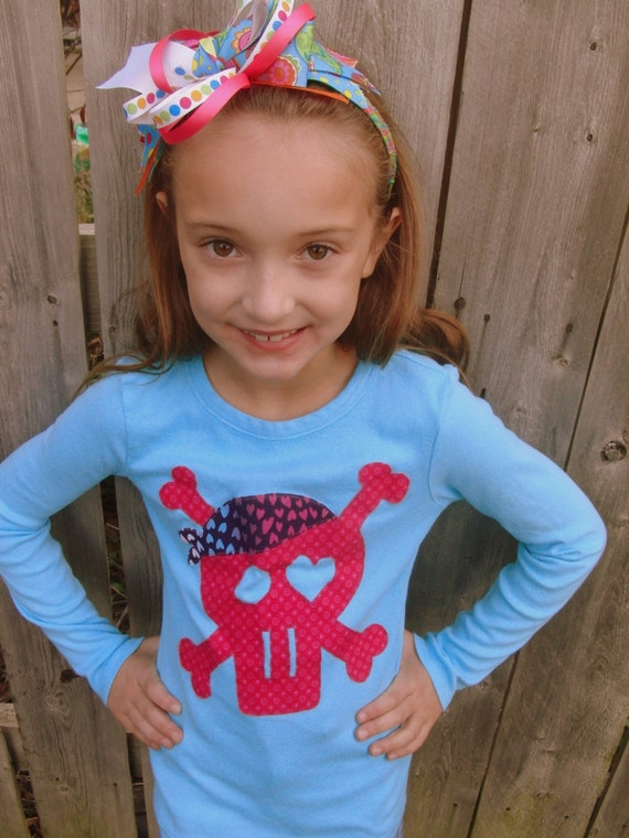 Girl Pirate Love T Shirt - Long Sleeve - Sizes 12m thru 12 - Turquoise and Pink