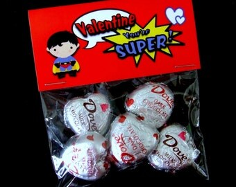 INSTANT DOWNLOAD - Printable Valentine Treat Bag Toppers  - You're Super - Superhero -  Boy