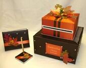 Elegant Custom Made Wedding Card Box/Guest Book-Pen set -FALL theme