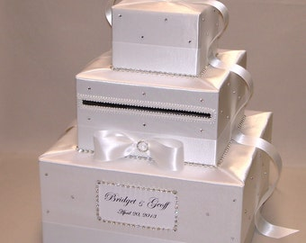 All White Elegant Custom Made Wedding Card Box-rhinestones all over-any color can be made