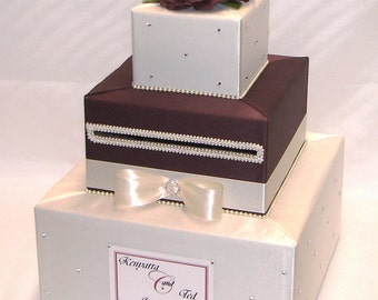 Elegant Custom made Wedding Card Box-Ivory and Chocolate Brown-any color can be made