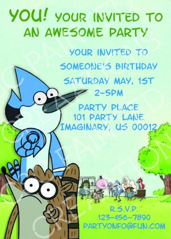 Regular show Birthday Invitations