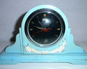 Alarm Clock Wood Painted Decorative Blue
