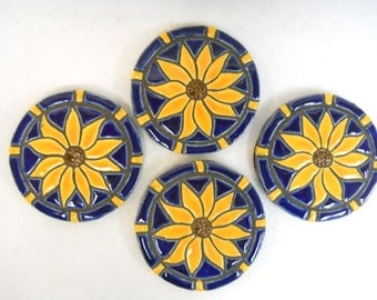 Mosaic Tile Coasters Handmade Ceramic Tile Coasters Stoneware Art SUNFLOWERS Cobalt / Royal Blue -felt backed -Set of 4