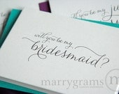 Will You Be My Bridesmaid Card Set, Maid of Honor, Flower Girl, Cards to Ask Bridal Party -Colorful Pink, Green, Navy Purple, Green Notes