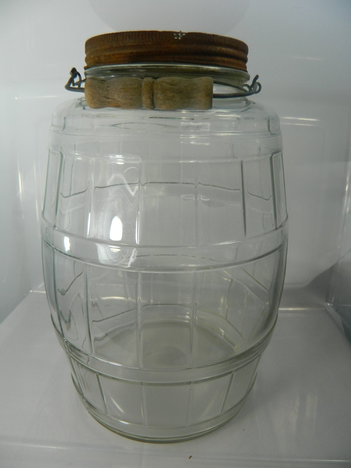 Vintage Pickle Jar Pickle Jar With Lid And Wire And Wood