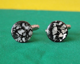 Black and White Spotted Shell Cufflinks