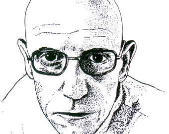Illustrated Foucault Screen Print Portrait T Shirt